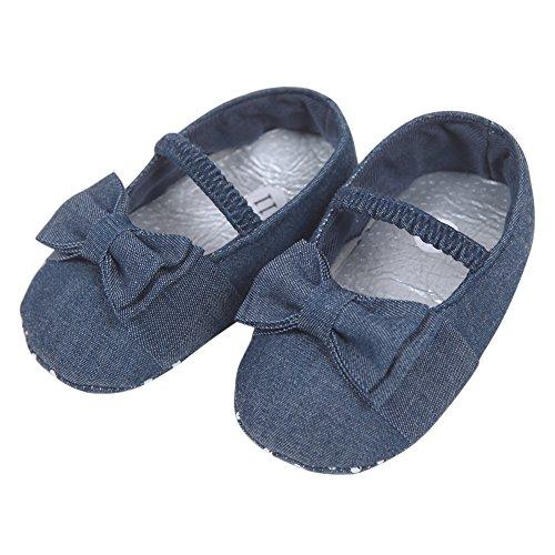 CHIC-CHIC Chaussure Souple Enfant Bébé Fille Garçon Ballerines Jeans Demin Nœud Papillon