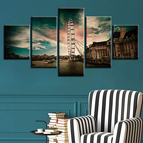 Mmwin Modular Canvas Wall Art Pictures 5 Panel Retro