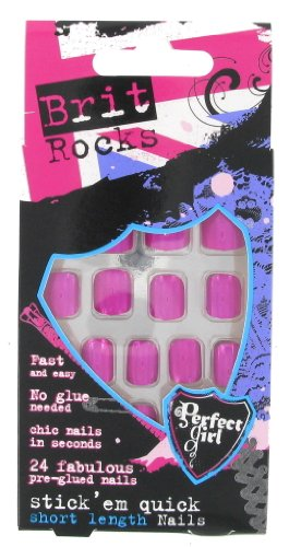 Perfect Girl Brit Rocks Stick'em Quick False Nails Faux ongles à tarte Bonbon
