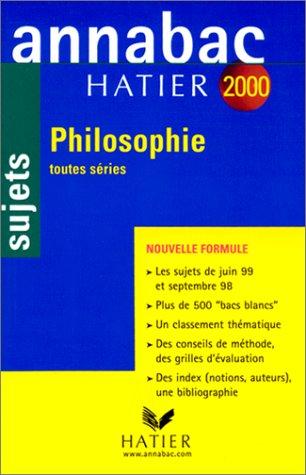 Annabac, sujets 2000 - philosophie toutes séries