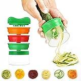 Spiralizzatore a mano, impugnatura a 3 lamierine per tagliatore a spirale Affilatrici per tagliare verdure