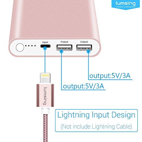 Lumsing Pilot 4GS 12000mAh Batería Externa ultra delgada, Cargador portátil externo con 2 puertos, Entrada Lightning de Apple, Powerbank especial para iPhone y también para Samsung Galaxy, Android y otros Smartphones (Oro rosa)