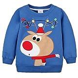 Felpe Sportive del Natale Bambino Maglione a Manica Lunga Cotone Pullover, Blu Alce 12-24 Mesi