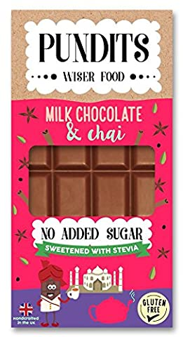 Pundits - Milk Chocolate & Chai Bar - with Natural Stevia Sweetener by Pundits | Healthy, Irresistibly Tasty Chocolate | Suitable for Diabetics | Low Carb, Gluten & No Added Sugar | Sweet Delight with Zero GI for Kids & Adult - NO ADDED SUGAR