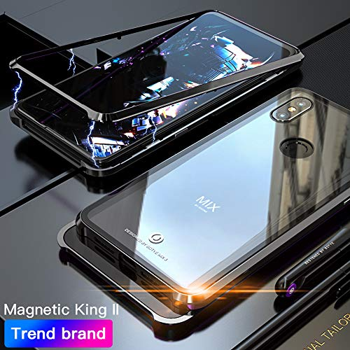 Eastcoo Compatible with Xiaomi Mi Mix 3 Hülle, Xiaomi Mix3 Black Cover Starke magnetische Adsorptionstechnologie Gehäuse aus Metall mit transparentem gehärtetem Glas (Mi Mix 3, Black)