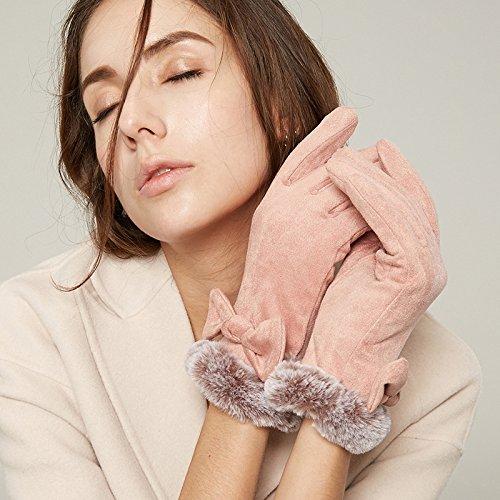 mjkzl Guantes de mujer invierno más terciopelo acolchado cálido, pantalla táctil Ardilla de sillín a guantes antideslizante, Rosa, talla única