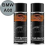 TRISTARcolor Autolack Spraydosen Set BMW A08 Silbergrau Metallic Basislack Klarlack Sprühdose 400ml