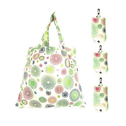 Set of 3 Reusable Grocery Bags,Heavy Duty Foldable Shopping Tote Bag, Holds Up to 42 lbs (Mint Green)