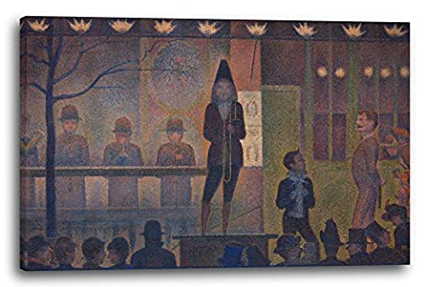 Georges Seurat - Circus parade (Parade de cirque), 47 x 32 inch (120 x 80 cm), Canvas print framed on a solid wood frame and ready to hang, high quality high definition print made in Germany.