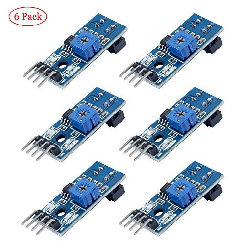 TeOhk 6 x TRCT5000 IR Infrarot Hindernisvermeidung Sensor Modul Lichtschranke Linie Track Sensor Modul für Arduino Smart Car w/Kabel 3,3 V-5 V Lichtschranke Sensor