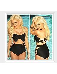 CC * CD Noir Sexy Nœud Taille haute Bikini Ensemble de maillots de bain (Taille M)