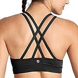 CRZ YOGA - Sujetador Deportivo Yoga Cruzados Almohadillas Extraíbles para Mujer Negro M