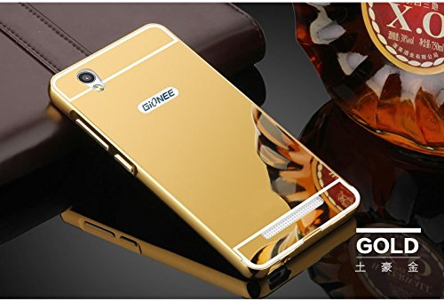 Gionee F103 - Luxury Elegant Metal Aluminum Frame + Acrylic Plastic Mirror Back Cover (Gold)