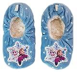 Frozen Hausschuhe Slipper Sneaker Mädchen Kindergarten Schuhe Gr. 23-34-waschbar (27-30, hellblau)