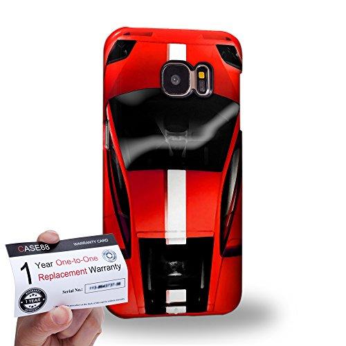 Case88 [Samsung Galaxy S7] 3D Hülle / Schutzhülle & Garantiekarte - Art Design Red Sport Car
