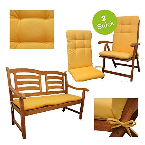 Indoba 3er Set 2 X Hochwertige Sitzauflage Gelb Hochlehner Bankauflage Fur Gartenmobel Polsterauflage Sitzpolster Stuhl Garten Gartenstuhl