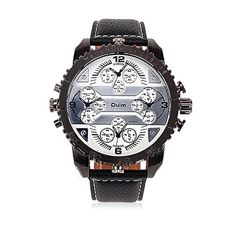 Hongboom Bande de cuir véritable de quatre Mouvement Blanc montre bracelet Homme décontracté Entreprise montres à quartz analogique Mode Robe Montre-bracelet