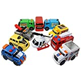 Toy State Emergency City Vehicles set of 10- Police, Fire Truck, Ambulance, Action News Helicopter, Taxi, Bus, Recycle, Garbage & Tow Trucks - all Free-Wheeling some with Moving Parts Imagination Play