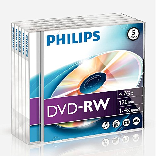 Philips DVD-RW Rohlinge (4.7 GB Data/ 120 Minuten Video, 1-4x Speed Aufnahme, 5er Jewel Case)