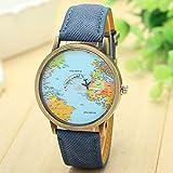 Longra globalen Reise durch Ebene Karte Frau Kleid Uhr Denim Stoff Band (Blau) -