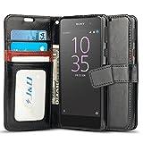 Xperia E5 Hülle, J&D [Handytasche mit Standfuß] [Slim Fit] Robust Stoßfest Aufklappbar Tasche Hülle für Sony Xperia E5 - Schwarz