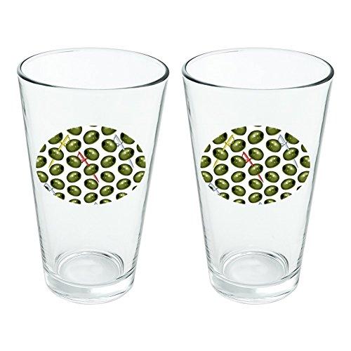 Martini grün oliv Muster Neuheit Klauenhammer, Pint Trinken aus Hartglas Set von 2