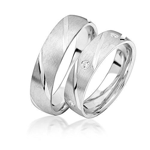 Eheringe Verlobungsringe Trauringe Freundschaftsringe Silber 925 Sterling * inkl. GRATIS Etui und Zirkonia Steine A05S Ehering Stein