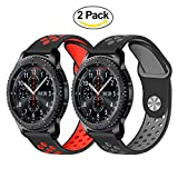 TRUMiRR Compatible avec Galaxy Watch 46mm/Gear S3 Bande de Montre, 2 Pack 22mm Bande...