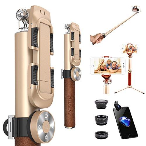 ZUSLAB Bastone professionale per selfie con Scatto Remoto Bluetooth, Portatile Autoritratto Monopiede con Mini Treppiede, 3 in 1 lente universale, lenti Kit (Grandangolare + Macro + Fisheye ), allungabile fino a 95 cm, Compatibile con Smartphone iOS e Android: iPhone 7/ 7 Plus/ 6s / 6s Plus / 6 / 6 Plus / 5s / 5c / 5, Huawei P9/ P8, Samsung Galaxy Note 3 / 2 / s5 / s4 / s3, Google Nexus etc