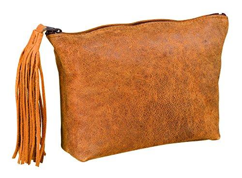 ELBA 400033037Federmäppchen flach Leder mit Bommel 17x 14x 1cm Vintage