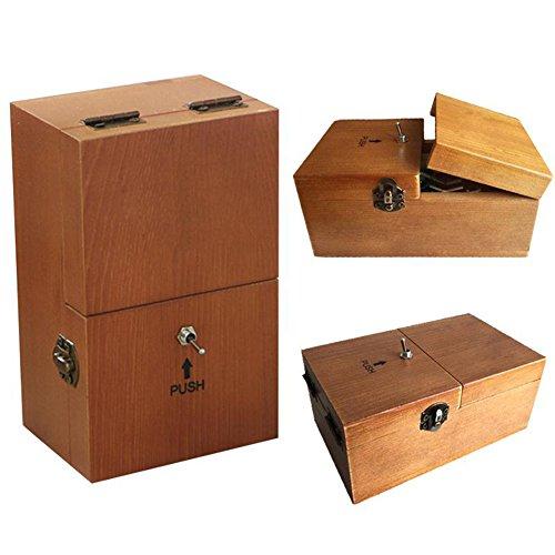 Juguete caja inútil Totalmente ensamblado DIY-Déjame solo caja de máquina con madera,se puede para regalos Geek o juguetes de escritorio