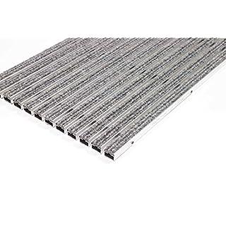 EMCO Eingangsmatte DIPLOMAT Rips hellgrau 22mm ALU Fußmatte Türmatte Schuhabstreifer Abstreifer, Größe:590 x 390 mm