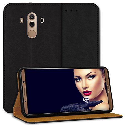 mtb more energy® Leder Bookstyle Case für Huawei Mate 10 Pro (6.0'') | schwarz | Echtleder | Schutz-Tasche Wallet Folio Cover Hülle