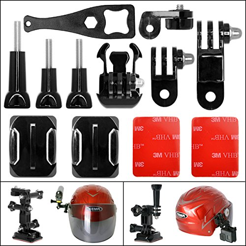 Fantaseal® Action Kamera Helm Halterung Set Actioncam Helmet Side Mount Action Kamera Helmbefestigung für GoPro Seiten-Helmhalterung GoPro Helmhalterung GoPro Helmhalter + GoPro Winkelhalterungen + Schnellspannschnalle + Schrauben +Schraubenschlüssel + Gebogene Klebehalterungen + 3M Kleber + 1/4'' Schrauben Adapter für GoPro Hero 5 / 4/3+/3/ Session / SJCAM Garmin Virb XE Virb Ultra 30 / Xiaomi Yi 4K / Tomtom Bandit + SONY FDR X-3000V X1000VR HDR AS 300 AS-10 AS-15 AS-20 AS-30 AS-50 AS-100
