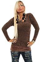 10147 Fashion4Young Damen Langarm-Pullover kuschel Pulli Minikleid verfügbar in 6 Farben Gr. 36/38