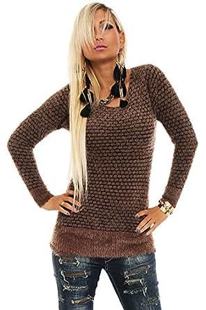 10147 Fashion4Young Damen Langarm-Pullover kuschel Pulli Minikleid verfügbar in 6 Farben Gr. 36/38 (36/38, Braun)