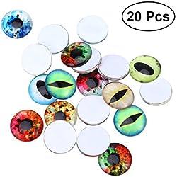 SUPVOX Mixed Mosaik Fliesen Supplies Auge Muster Runde Foto Glas Cabochons für Handwerk Schmuck machen 20 PCS 25mm