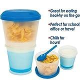 Tazas de granola-2-go cereales vaso de viaje botes frigorífico con leche y cuchara 2-Go para viajes