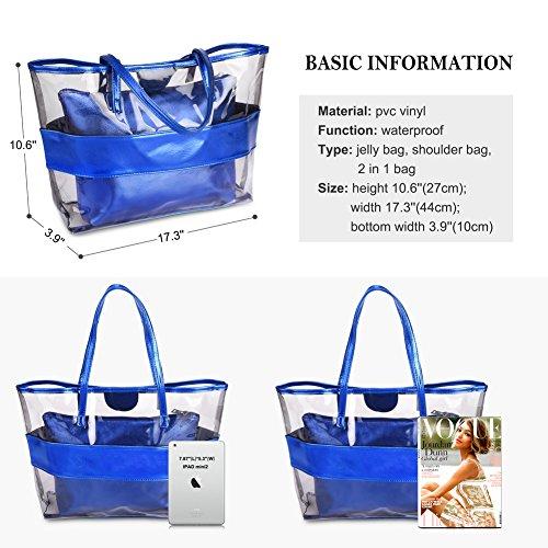 Vbiger 2 Pack Sac à Main de Plage Etanche Transparent Sac Fourre-Tout avec Nœud Papillon et Pois … Bleu