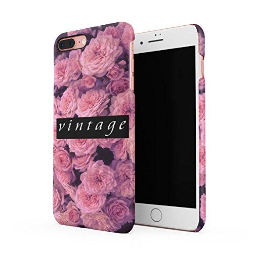 Love Pink Roses Pattern Custodia Posteriore Sottile In Plastica Rigida Cover Per iPhone 7 Plus & iPhone 8 Plus Slim Fit Hard Case Cover Vintage Pink