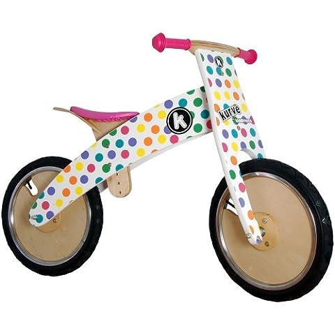 Kiddimoto Kurve Middi - Bicicleta infantil sin pedales, 10-18 in, color multicolor