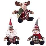Glory.D Luerme Decoraciones de Navidad Cute Santa muñeco de Nieve con Forma de Ciervo muñeca Santa Claus muñeco de Nieve Figura muñeco de Peluche muñeca Fiesta de Navidad árbol Ornamento Colgante