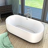 AcquaVapore freistehende Badewanne Wanne Whirlpool FSW16 170cm mit Luftmassage, Armatur:mit Armatur AFSW01 +210.-EUR