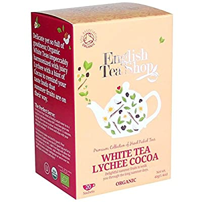 English Tea Shop Thé blanc Litchi Cacao Thé biologique/blanc avec litchi et thé de première qualité Collection de thé de cacao cueillie à la main par le Sri Lanka - 6 x 20 sachets (240 grammes)