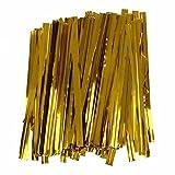 Legame di torsione - TOOGOO(R) 100 pezzi Oro filo di ferro lecca-lecca fissaggio torsione borsa cravatta caramelle biscotto