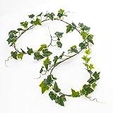artplants Künstliche Efeu-Girlande real Touch, weiß-grün, 65 Blätter, 180 cm - Kunstgirlande/Dekogirlande