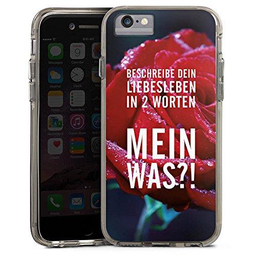 Apple iPhone 6 Bumper Hülle Bumper Case Glitzer Hülle Liebe Love Amour Bumper Case transparent grau