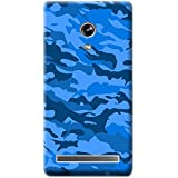 Bloody Branded Back Case For Asus Zenfone 6 | Asus Zenfone 6 Back Cover | Asus Zenfone 6 Back Case - Printed Designer Hard Plastic Case - Camouflage Theme(Blue & Royel Blue)