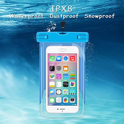 Blumads 3pezzi universale custodia impermeabile, borsa a secco, custodia impermeabile con 3colori, adatto per iPhone 7Plus, 7, 6S, 6S Plus, 6, 6Plus, se, 5, 5S, 5C, 5, 4S, Samsung Galaxy S8S7fi blue+green+pink