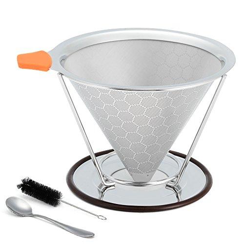 LinTimes Kaffeefilter, Permanentfilter, Wiederverwendbare Edelstahl Kaffee Dripper, mit it Getrennte...
